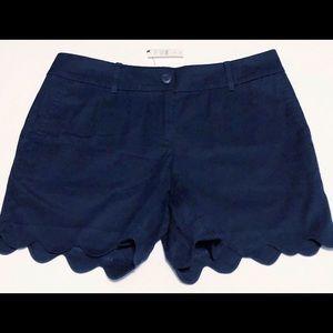 Talbots navy blue shorts, scalloped hem, NWT, 4P